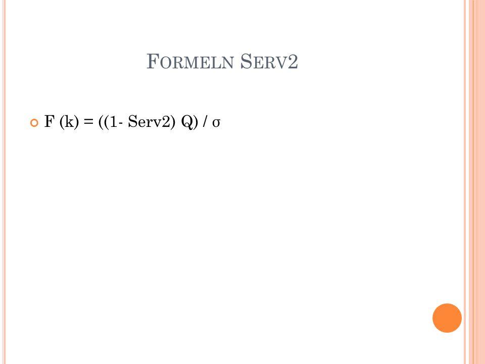 F ORMELN S ERV 2 F (k) = ((1- Serv2) Q) / σ