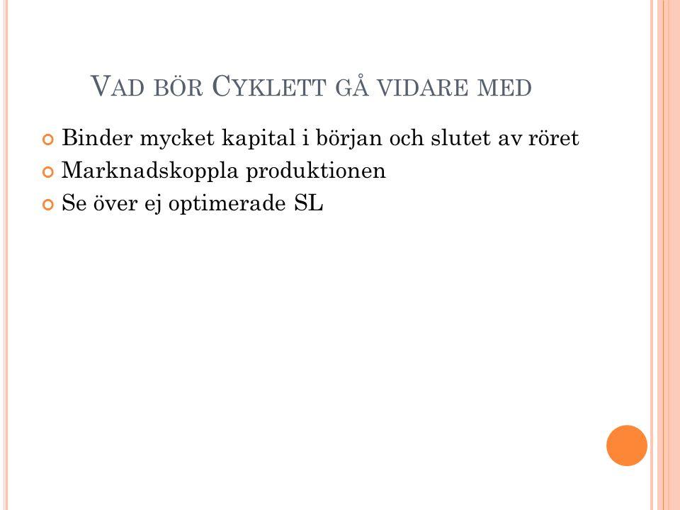 V AD BÖR C YKLETT GÅ VIDARE MED Binder mycket kapital i början och slutet av röret Marknadskoppla produktionen Se över ej optimerade SL