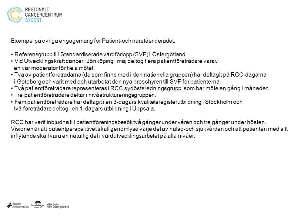 Exempel på övriga engagemang för Patient-och närståenderådet: Referensgrupp till Standardiserade vårdförlopp (SVF) i Östergötland. Vid Utvecklingskraf