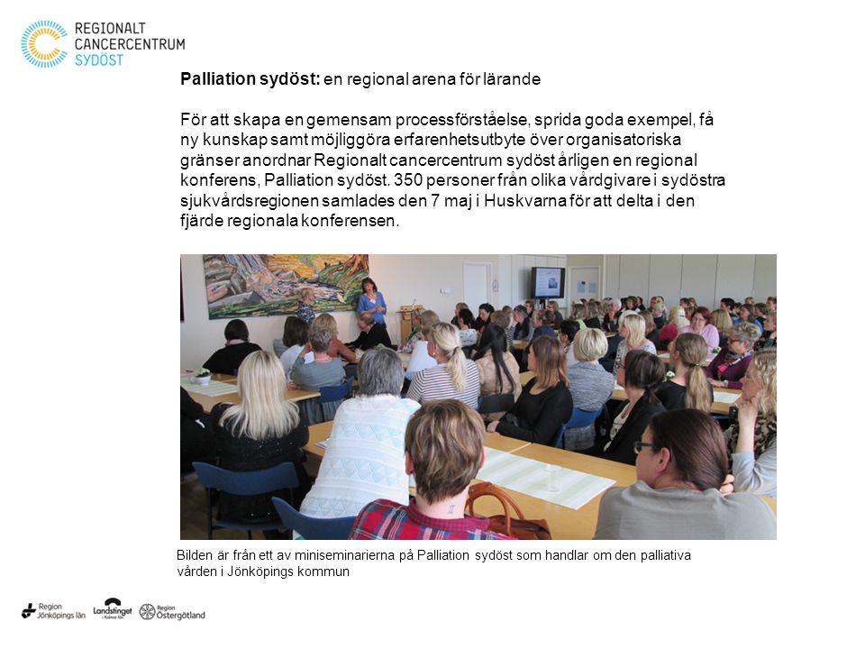 Palliation sydöst: en regional arena för lärande För att skapa en gemensam processförståelse, sprida goda exempel, få ny kunskap samt möjliggöra erfar