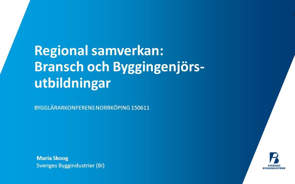 BYGGLÄRARKONFERENS NORRKÖPING 150611 Regional samverkan: Bransch och Byggingenjörs- utbildningar 1 Maria Skoog Sveriges Byggindustrier (BI)