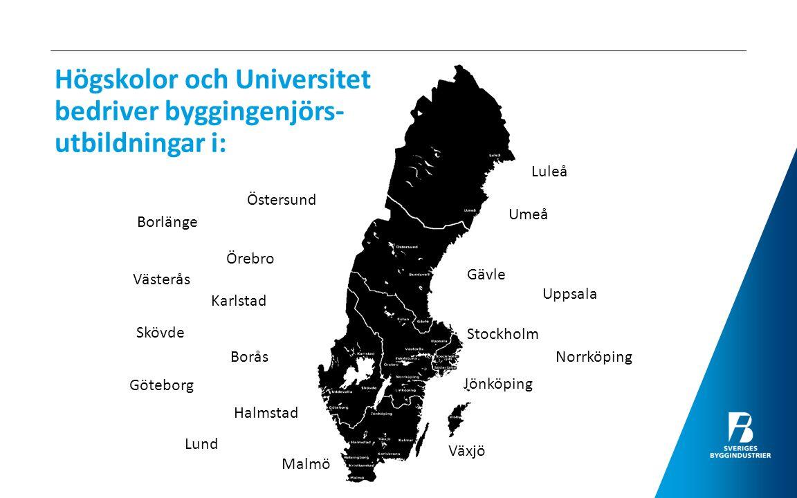 Högskolor och Universitet bedriver byggingenjörs- utbildningar i: Umeå Luleå Östersund Gävle Uppsala Stockholm Norrköping Örebro Västerås Göteborg Bor