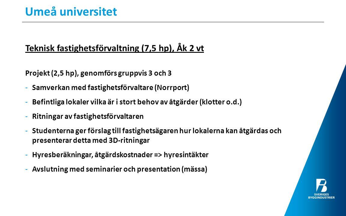 Umeå universitet Teknisk fastighetsförvaltning (7,5 hp), Åk 2 vt Projekt (2,5 hp), genomförs gruppvis 3 och 3 -Samverkan med fastighetsförvaltare (Nor