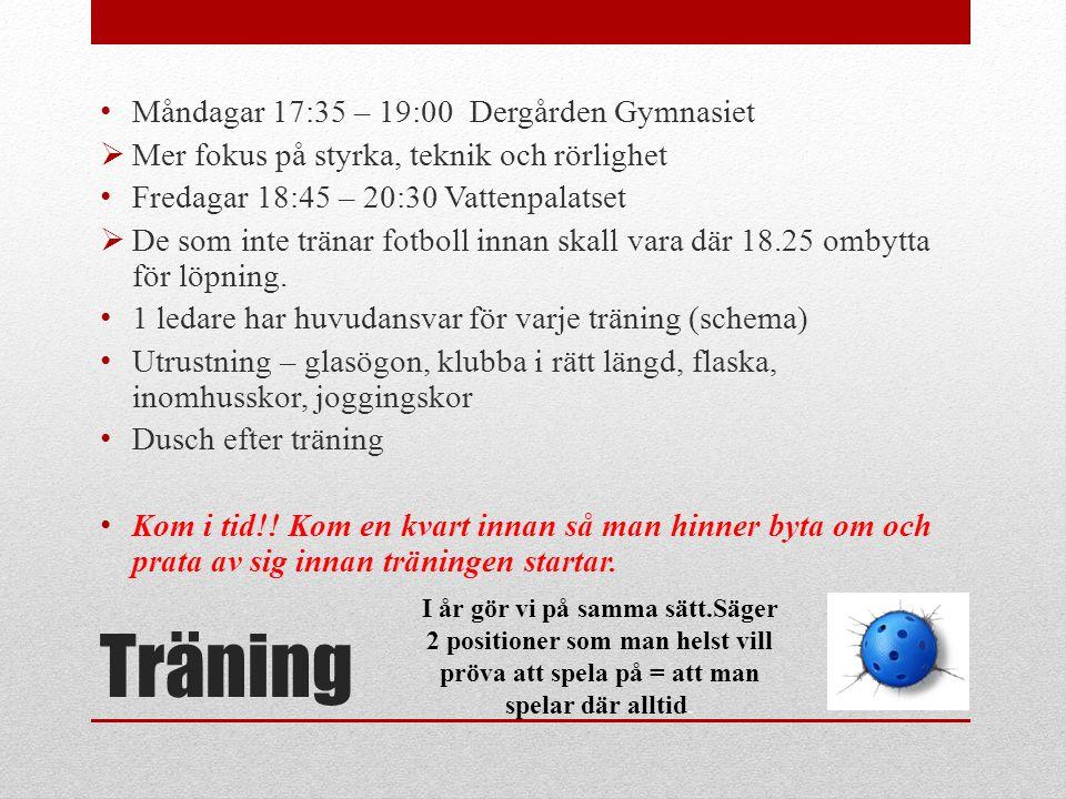 Träning Måndagar 17:35 – 19:00 Dergården Gymnasiet  Mer fokus på styrka, teknik och rörlighet Fredagar 18:45 – 20:30 Vattenpalatset  De som inte trä
