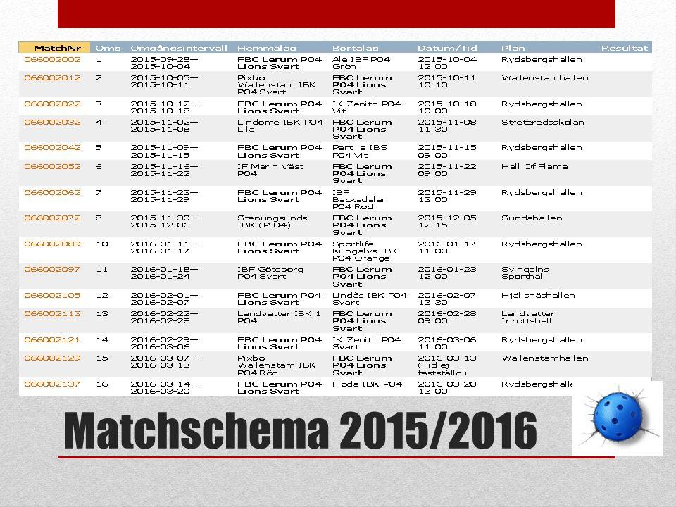 Matchschema 2015/2016