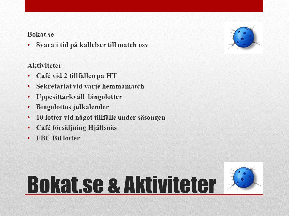 Bokat.se & Aktiviteter Bokat.se Svara i tid på kallelser till match osv Aktiviteter Café vid 2 tillfällen på HT Sekretariat vid varje hemmamatch Uppes