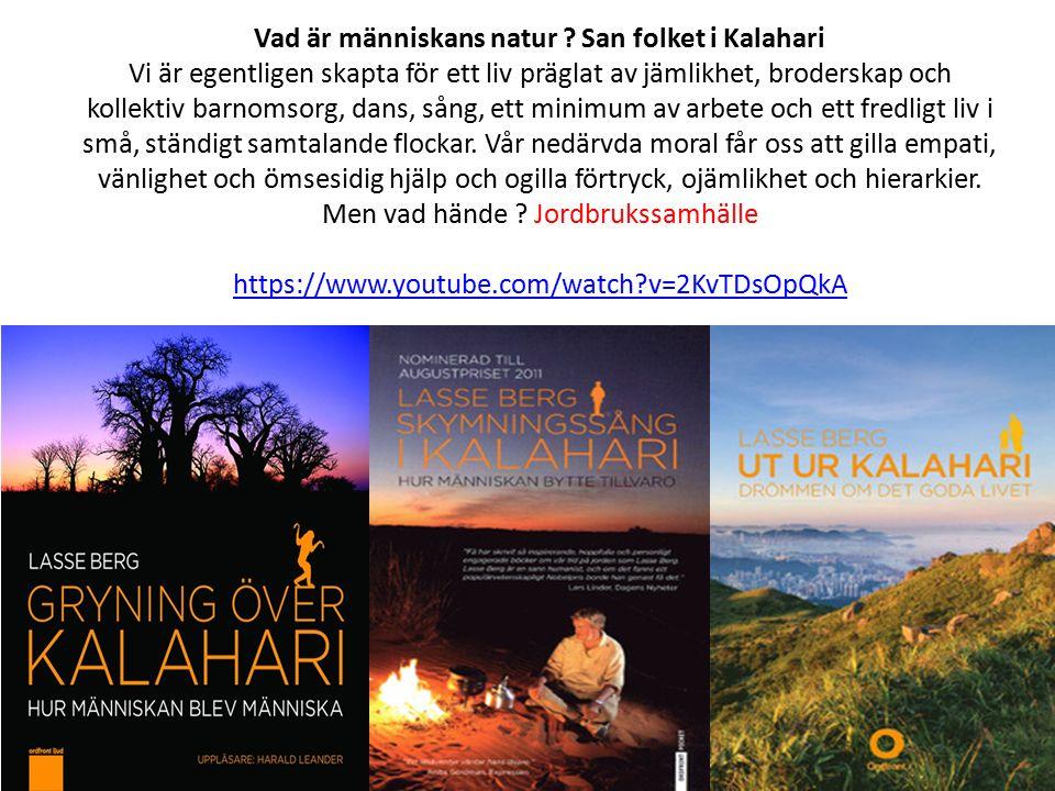 Vad är människans natur ? San folket i Kalahari Vi är egentligen skapta för ett liv präglat av jämlikhet, broderskap och kollektiv barnomsorg, dans, s