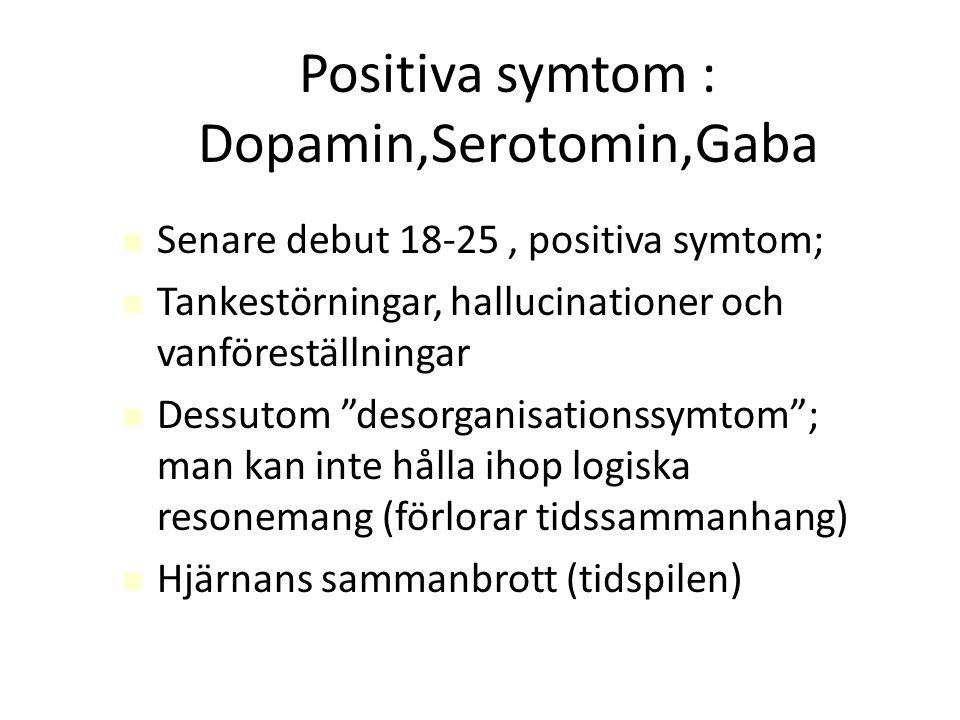 """Positiva symtom : Dopamin,Serotomin,Gaba Senare debut 18-25, positiva symtom; Tankestörningar, hallucinationer och vanföreställningar Dessutom """"desorg"""