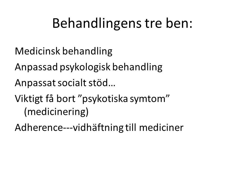 """Behandlingens tre ben: Medicinsk behandling Anpassad psykologisk behandling Anpassat socialt stöd… Viktigt få bort """"psykotiska symtom"""" (medicinering)"""
