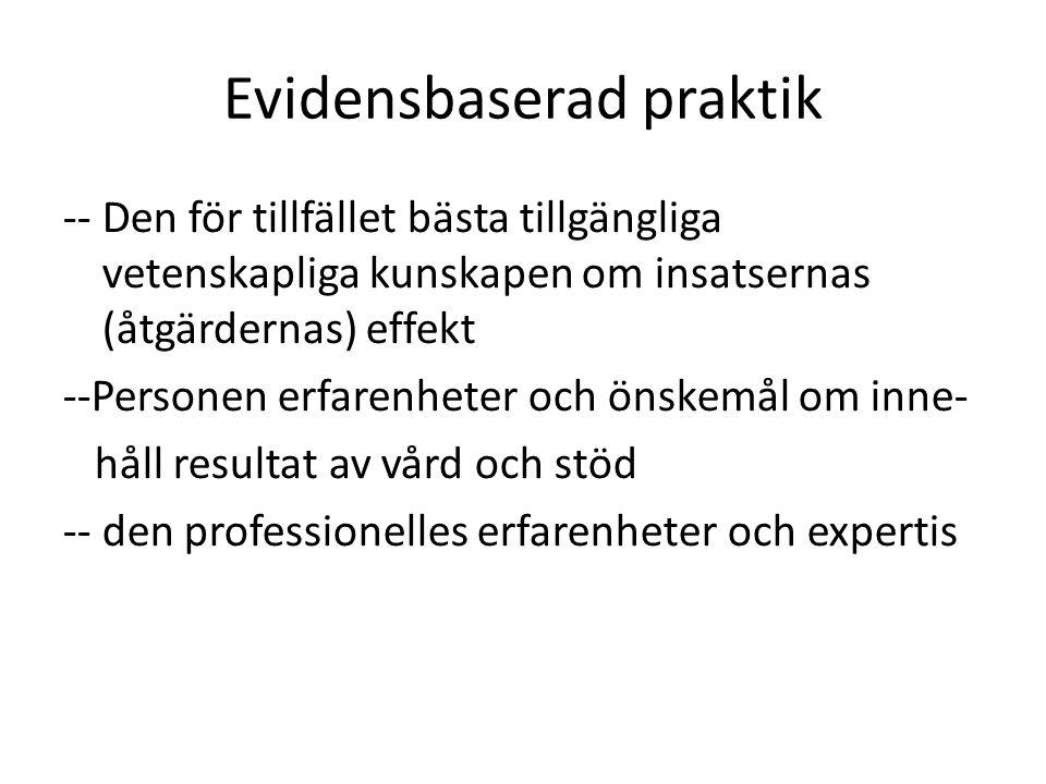 Evidensbaserad praktik -- Den för tillfället bästa tillgängliga vetenskapliga kunskapen om insatsernas (åtgärdernas) effekt --Personen erfarenheter oc