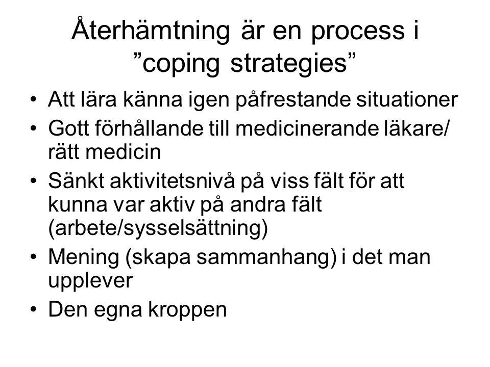 """Återhämtning är en process i """"coping strategies"""" Att lära känna igen påfrestande situationer Gott förhållande till medicinerande läkare/ rätt medicin"""
