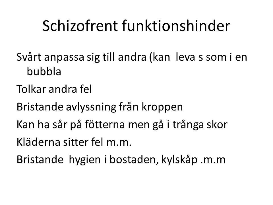 Schizofrent funktionshinder Svårt anpassa sig till andra (kan leva s som i en bubbla Tolkar andra fel Bristande avlyssning från kroppen Kan ha sår på