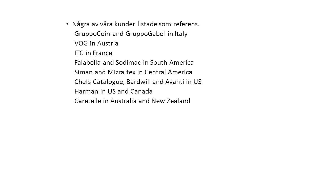 Några av våra kunder listade som referens. GruppoCoin and GruppoGabel in Italy VOG in Austria ITC in France Falabella and Sodimac in South America Sim