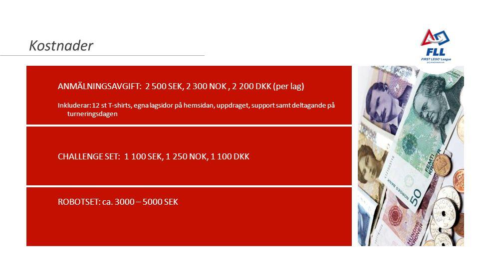 Newton-nettverket 23.10.2014 Kostnader ANMÄLNINGSAVGIFT: 2 500 SEK, 2 300 NOK, 2 200 DKK (per lag) Inkluderar: 12 st T-shirts, egna lagsidor på hemsidan, uppdraget, support samt deltagande på turneringsdagen ROBOTSET: ca.