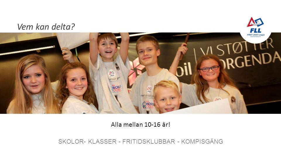 Vem kan delta SKOLOR- KLASSER - FRITIDSKLUBBAR - KOMPISGÄNG Alla mellan 10-16 år!