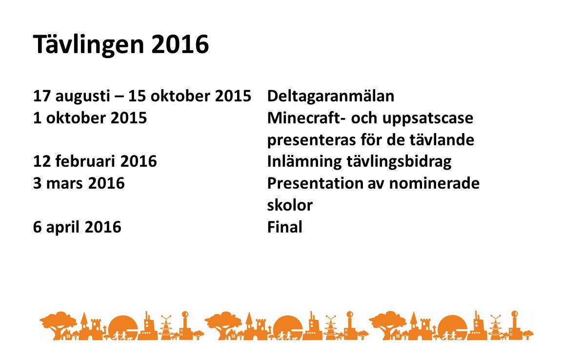 Tävlingen 2016 17 augusti – 15 oktober 2015Deltagaranmälan 1 oktober 2015Minecraft- och uppsatscase presenteras för de tävlande 12 februari 2016Inlämning tävlingsbidrag 3 mars 2016Presentation av nominerade skolor 6 april 2016Final