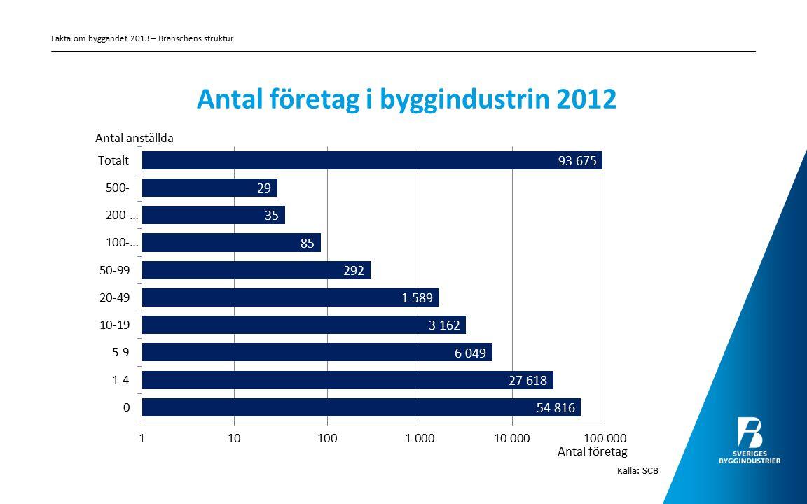 Antal företag i byggindustrin 2012 Källa: SCB Fakta om byggandet 2013 – Branschens struktur