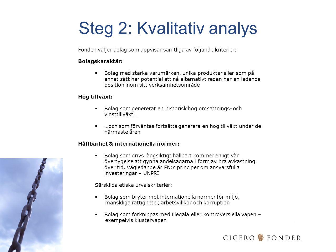 Steg 2: Kvalitativ analys Fonden väljer bolag som uppvisar samtliga av följande kriterier: Bolagskaraktär:  Bolag med starka varumärken, unika produk