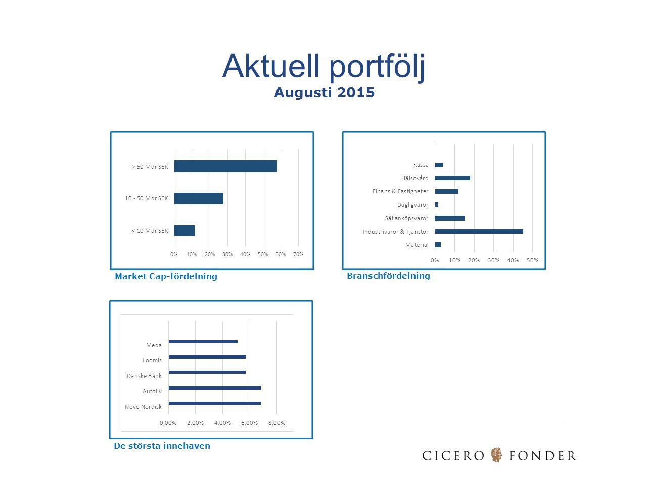 Market Cap-fördelning Branschfördelning De största innehaven Aktuell portfölj Augusti 2015