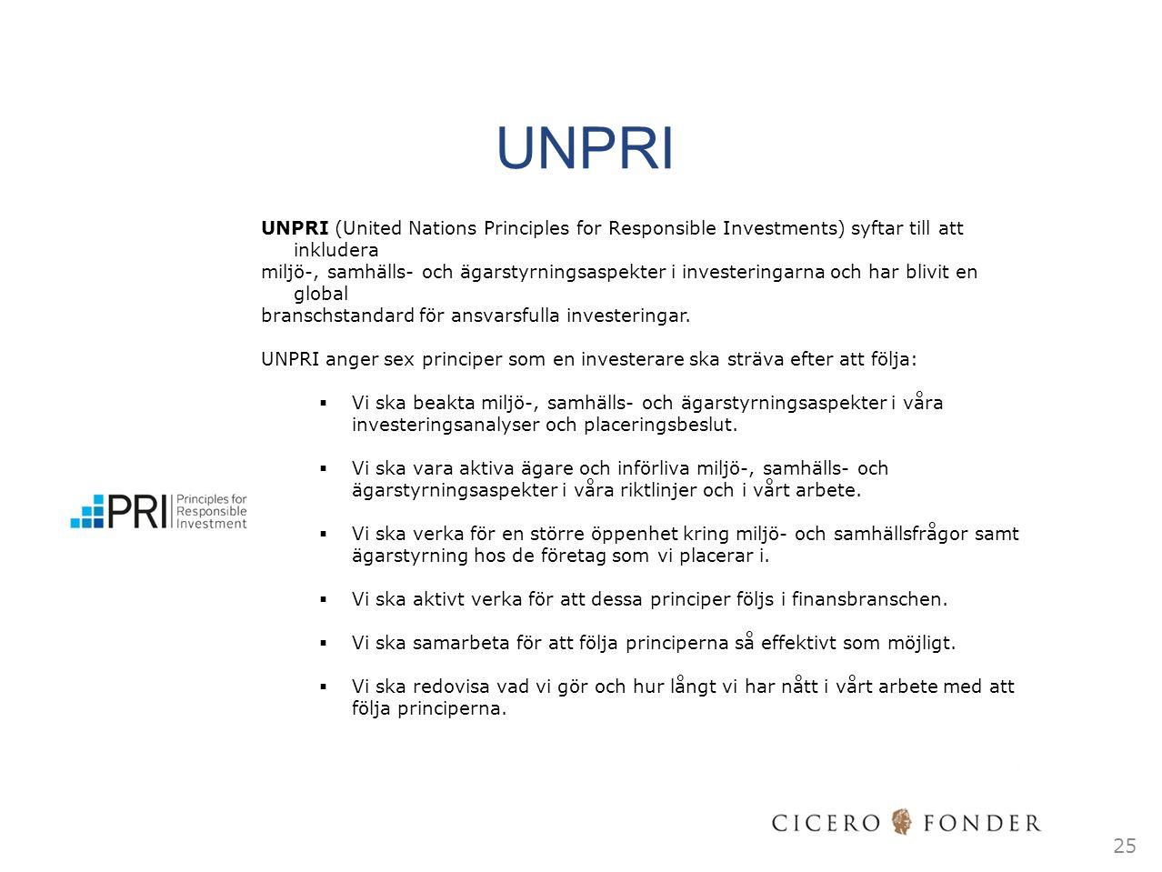 UNPRI 25 UNPRI (United Nations Principles for Responsible Investments) syftar till att inkludera miljö-, samhälls- och ägarstyrningsaspekter i investe