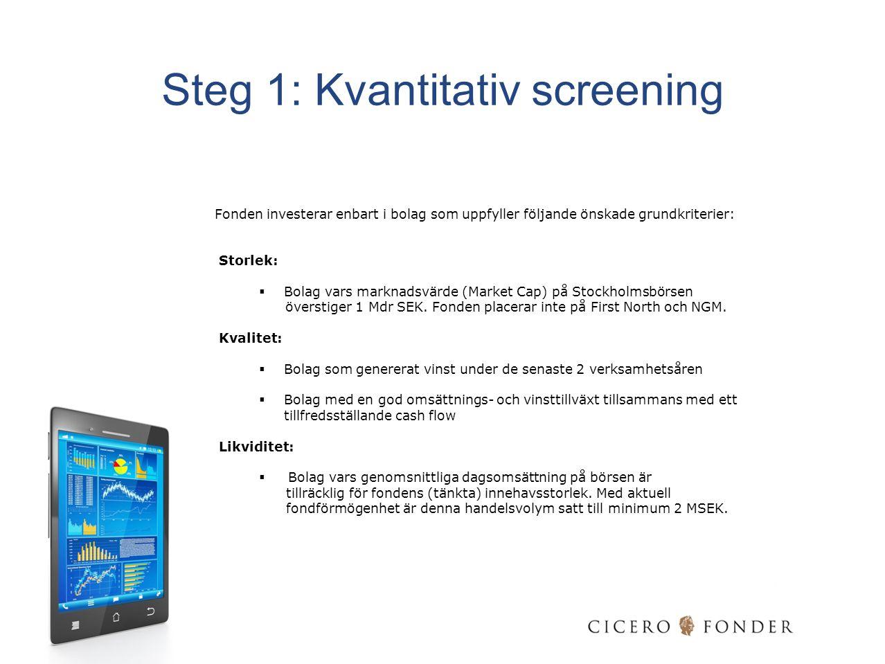 Steg 1: Kvantitativ screening Fonden investerar enbart i bolag som uppfyller följande önskade grundkriterier: Storlek:  Bolag vars marknadsvärde (Mar