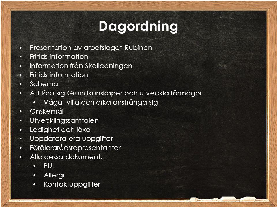 Dagordning Presentation av arbetslaget Rubinen Fritids information Information från Skolledningen Fritids information Schema Att lära sig Grundkunskap