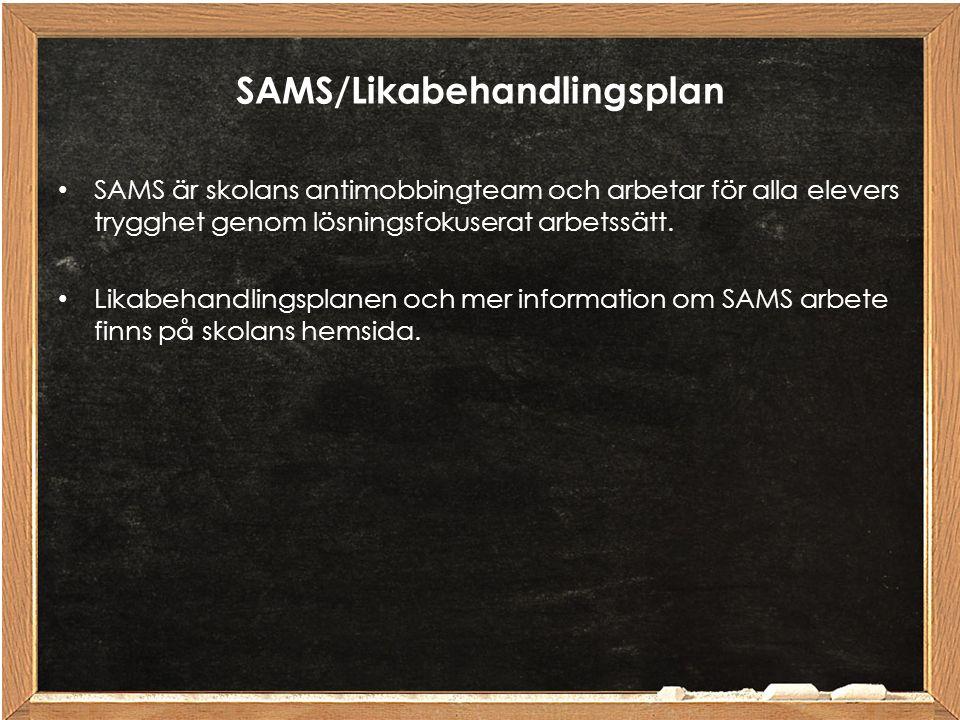 SAMS/Likabehandlingsplan SAMS är skolans antimobbingteam och arbetar för alla elevers trygghet genom lösningsfokuserat arbetssätt. Likabehandlingsplan