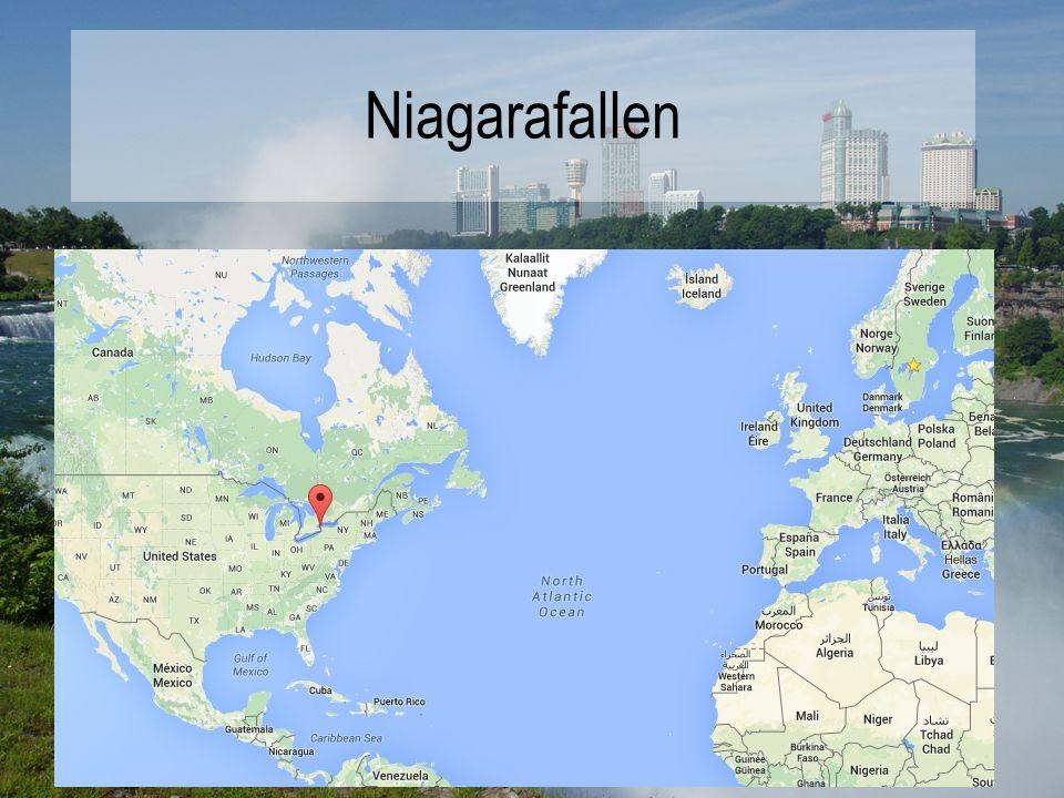 Niagarafallen Upptäcktes på 1600-talet Består av tre olika vattenfall. Hästskofallen (920 meter breda) Amerikanska fallen Brudslöjefallen Ligger på gr