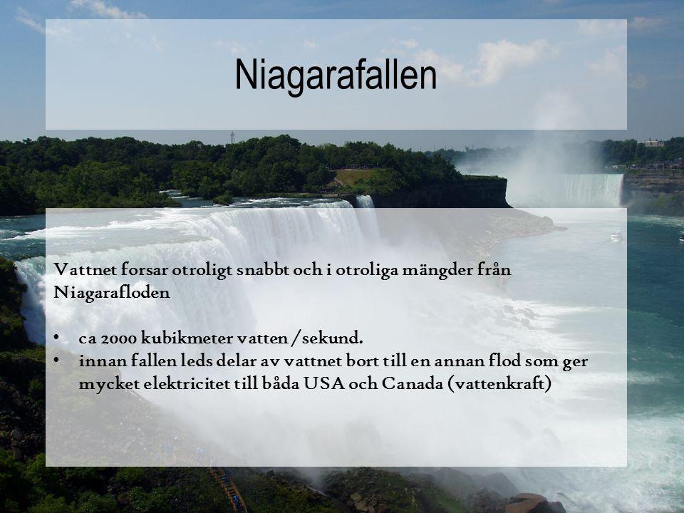 Vattnet forsar otroligt snabbt och i otroliga mängder från Niagarafloden ca 2000 kubikmeter vatten /sekund.