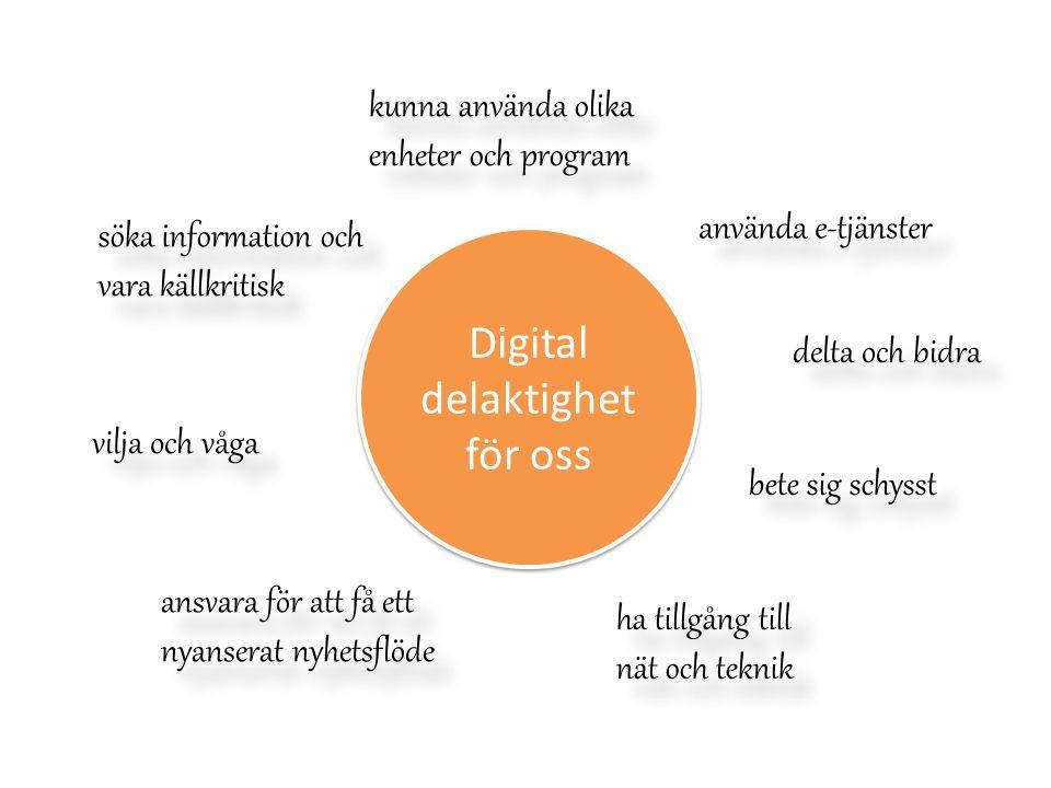 Digital delaktighet för oss kunna använda olika enheter och program kunna använda olika enheter och program använda e-tjänster bete sig schysst delta och bidra söka information och vara källkritisk ansvara för att få ett nyanserat nyhetsflöde vilja och våga ha tillgång till nät och teknik ha tillgång till nät och teknik