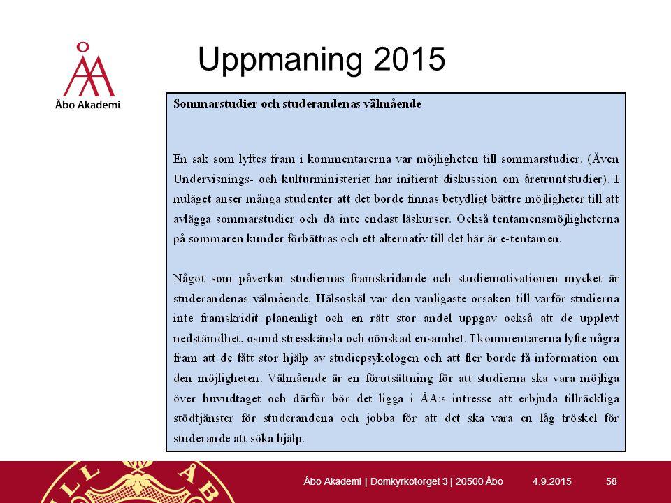Uppmaning 2015 4.9.201558 Åbo Akademi | Domkyrkotorget 3 | 20500 Åbo