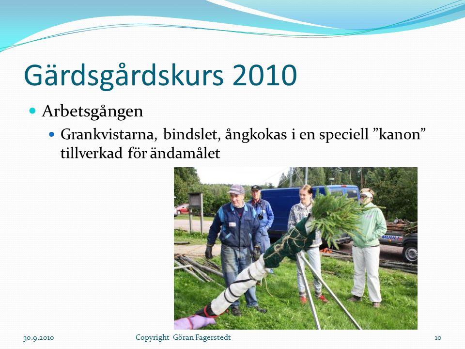 Gärdsgårdskurs 2010 Arbetsgången Grankvistarna, bindslet, ångkokas i en speciell kanon tillverkad för ändamålet 30.9.201010Copyright Göran Fagerstedt