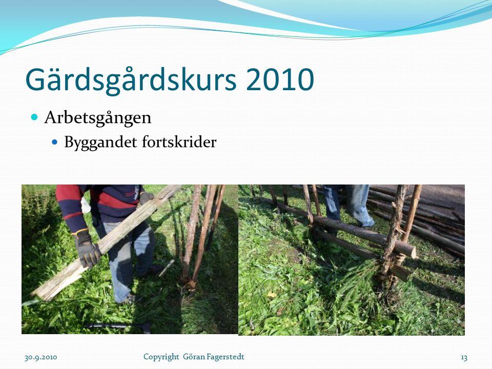 Gärdsgårdskurs 2010 Arbetsgången Byggandet fortskrider 30.9.201013Copyright Göran Fagerstedt