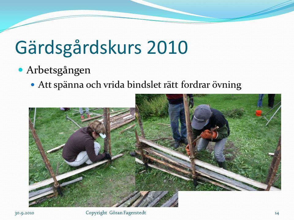 Gärdsgårdskurs 2010 Arbetsgången Att spänna och vrida bindslet rätt fordrar övning 30.9.201014Copyright Göran Fagerstedt