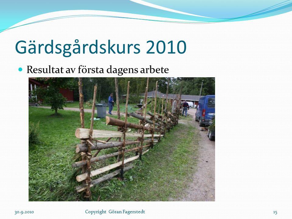 Gärdsgårdskurs 2010 Resultat av första dagens arbete 30.9.201015Copyright Göran Fagerstedt