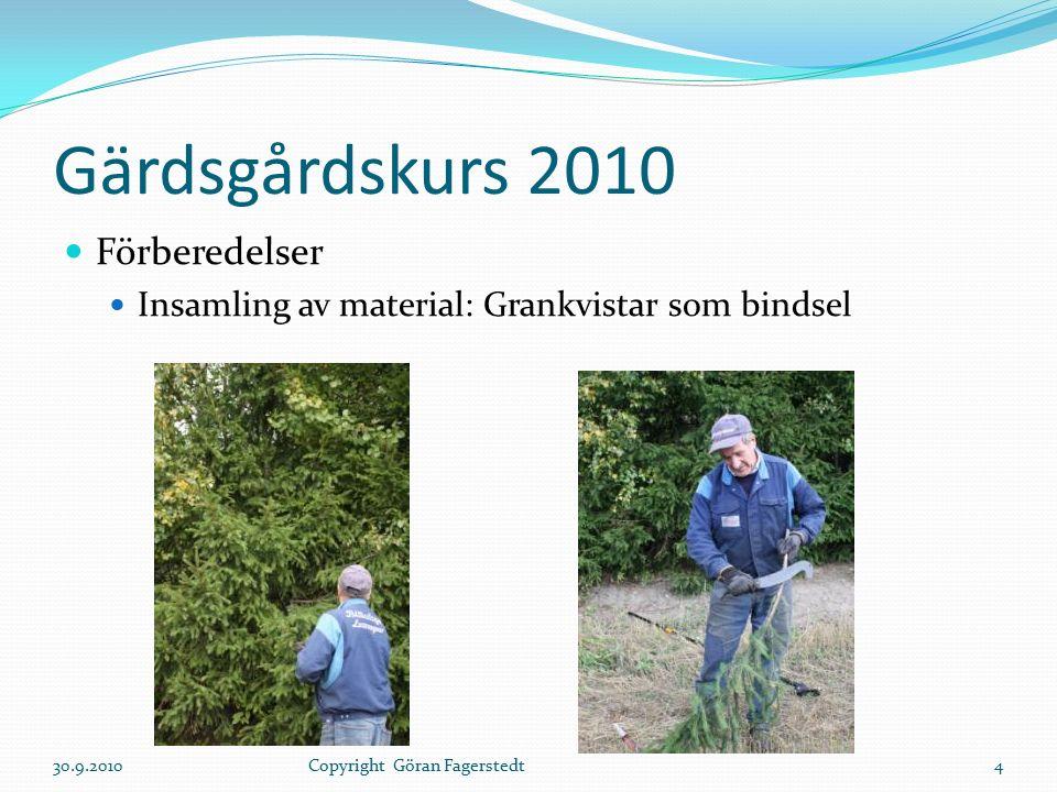 Gärdsgårdskurs 2010 Förberedelser Insamling av material: Grankvistar som bindsel 30.9.20104Copyright Göran Fagerstedt