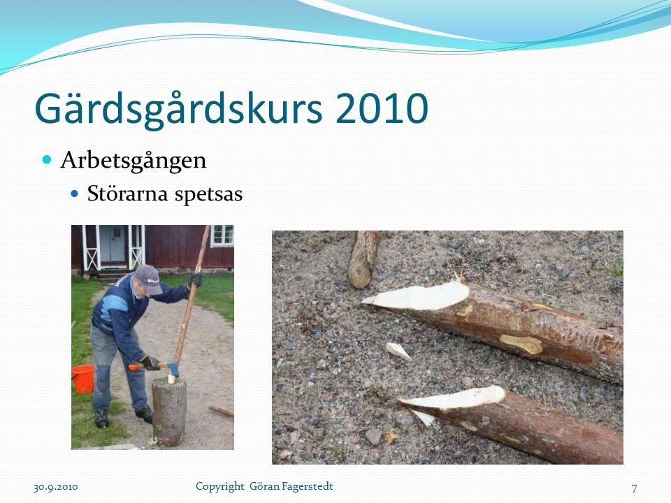 Gärdsgårdskurs 2010 Arbetsgången Störarna spetsas 30.9.20107Copyright Göran Fagerstedt