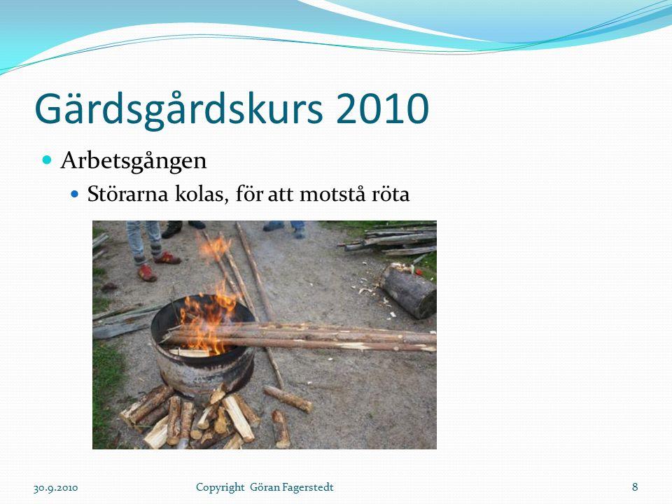 Gärdsgårdskurs 2010 Arbetsgången Störarna kolas, för att motstå röta 30.9.20108Copyright Göran Fagerstedt