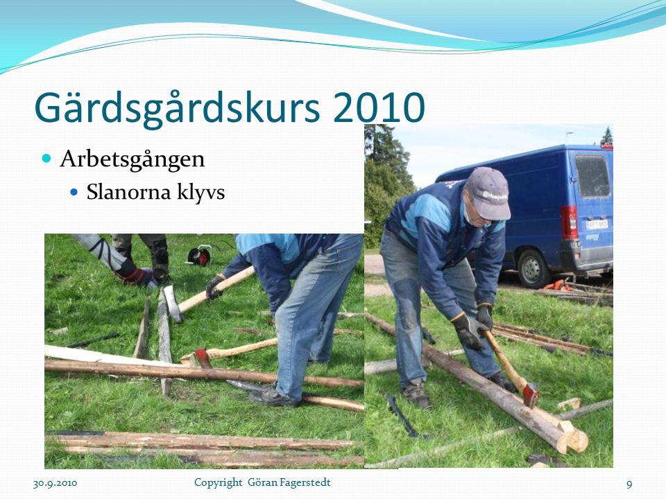 Gärdsgårdskurs 2010 Arbetsgången Slanorna klyvs 30.9.20109Copyright Göran Fagerstedt