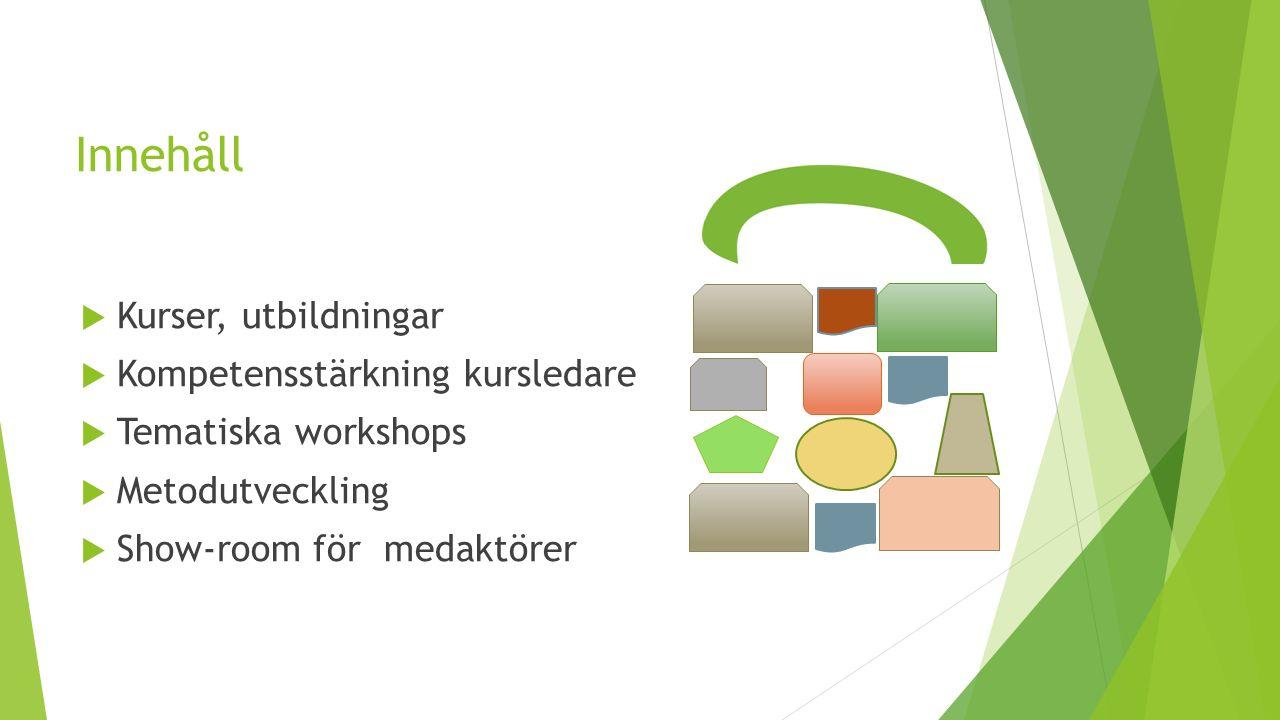 Innehåll  Kurser, utbildningar  Kompetensstärkning kursledare  Tematiska workshops  Metodutveckling  Show-room för medaktörer