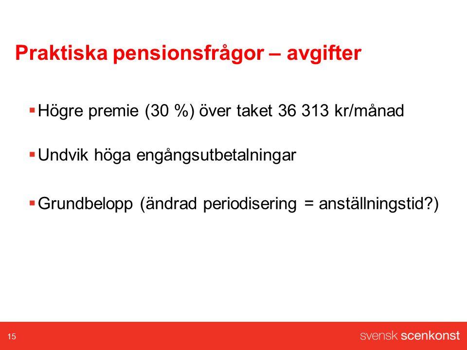 Praktiska pensionsfrågor – avgifter  Högre premie (30 %) över taket 36 313 kr/månad  Undvik höga engångsutbetalningar  Grundbelopp (ändrad periodisering = anställningstid?) 15