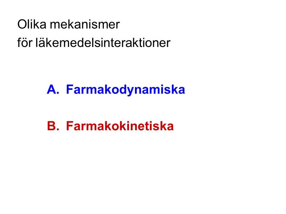 Olika mekanismer för läkemedelsinteraktioner A.Farmakodynamiska B.Farmakokinetiska