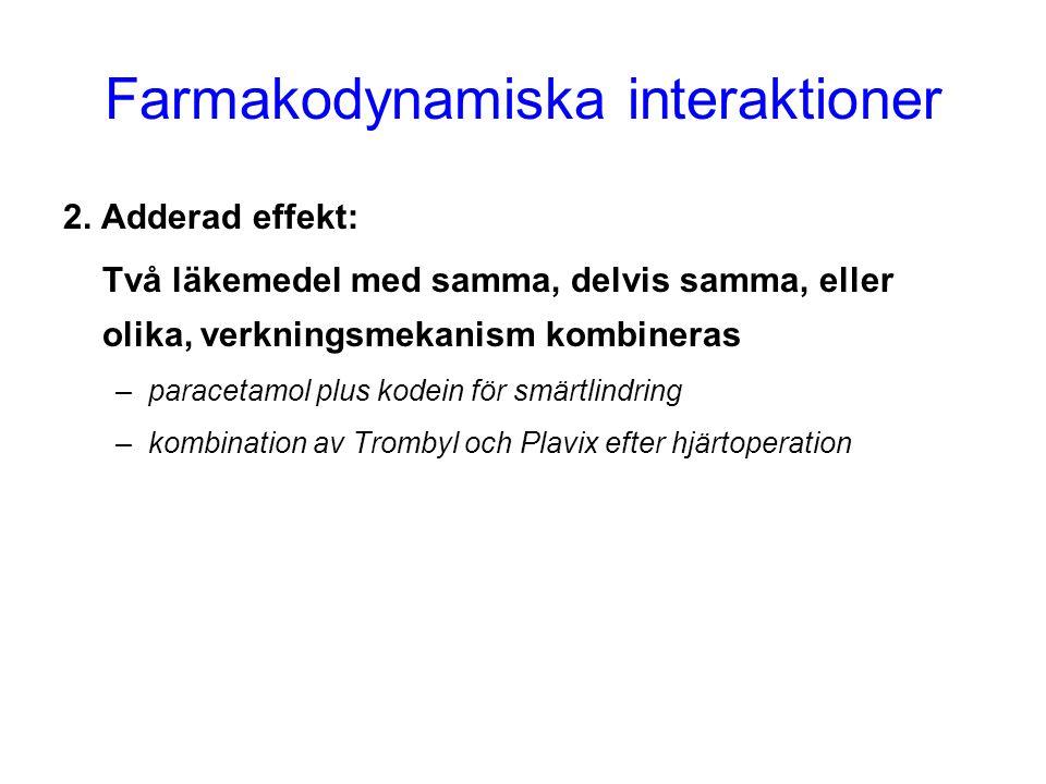 Farmakodynamiska interaktioner 2. Adderad effekt: Två läkemedel med samma, delvis samma, eller olika, verkningsmekanism kombineras –paracetamol plus k