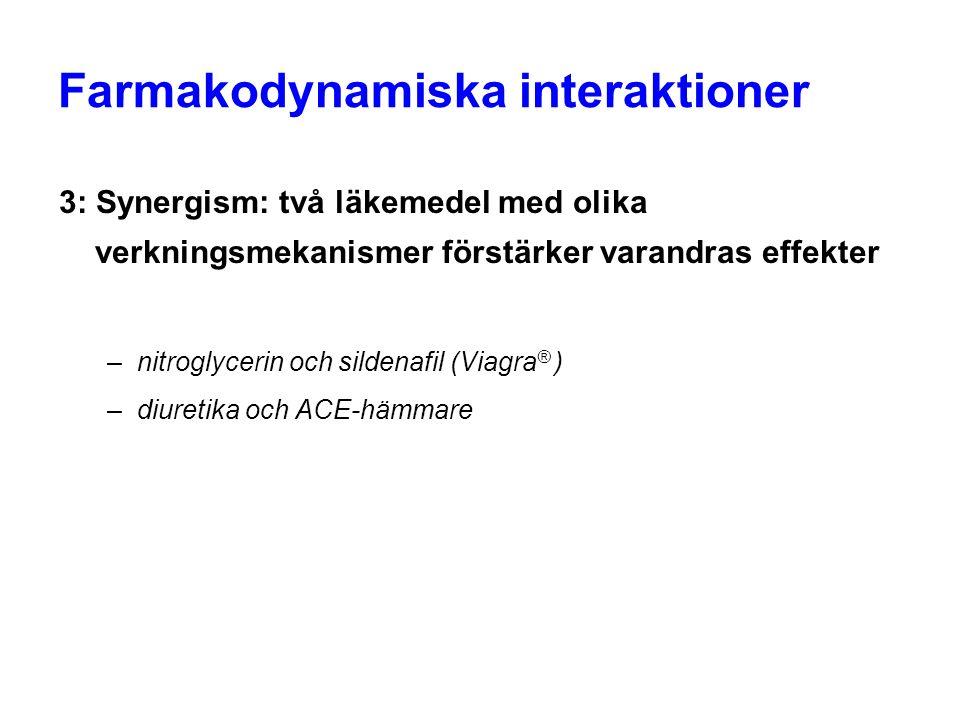 Farmakodynamiska interaktioner 3: Synergism: två läkemedel med olika verkningsmekanismer förstärker varandras effekter –nitroglycerin och sildenafil (