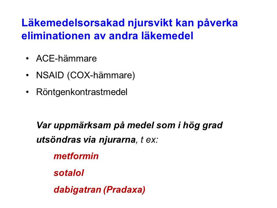 Läkemedelsorsakad njursvikt kan påverka eliminationen av andra läkemedel ACE-hämmare NSAID (COX-hämmare) Röntgenkontrastmedel Var uppmärksam på medel