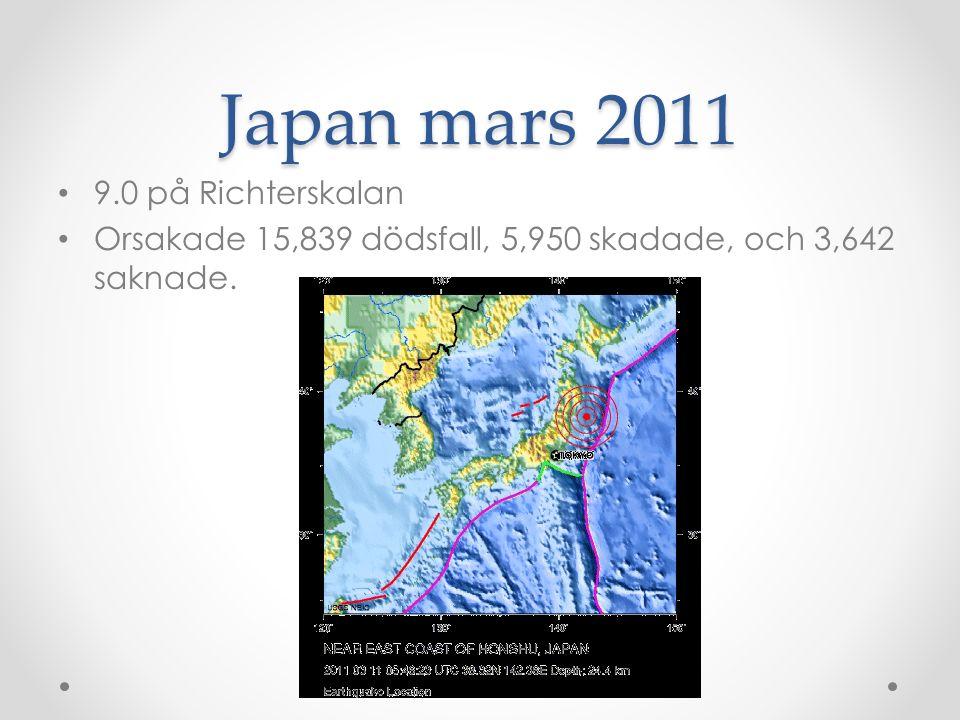 Japan mars 2011 9.0 på Richterskalan Orsakade 15,839 dödsfall, 5,950 skadade, och 3,642 saknade.