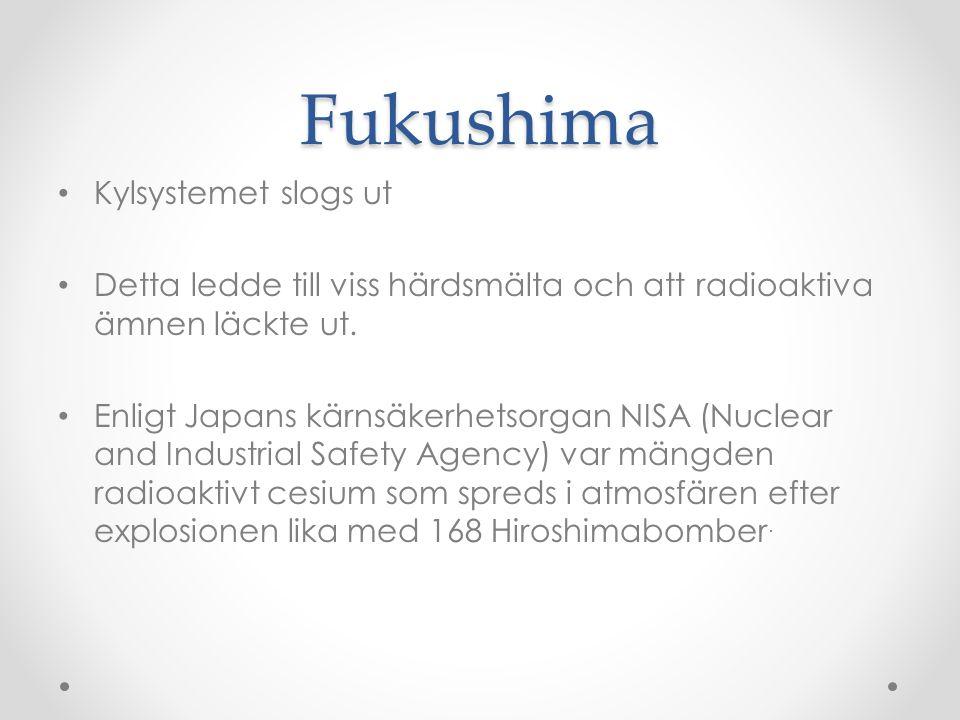 Fukushima Kylsystemet slogs ut Detta ledde till viss härdsmälta och att radioaktiva ämnen läckte ut.