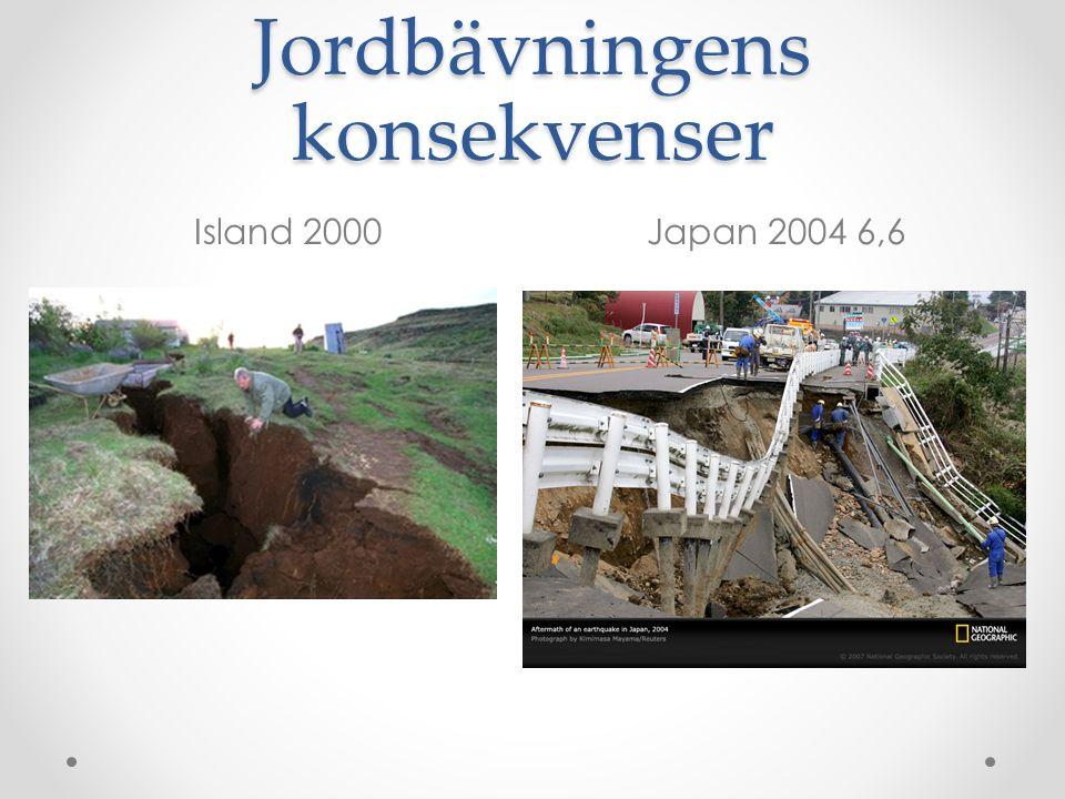 Jordbävningens konsekvenser Island 2000Japan 2004 6,6
