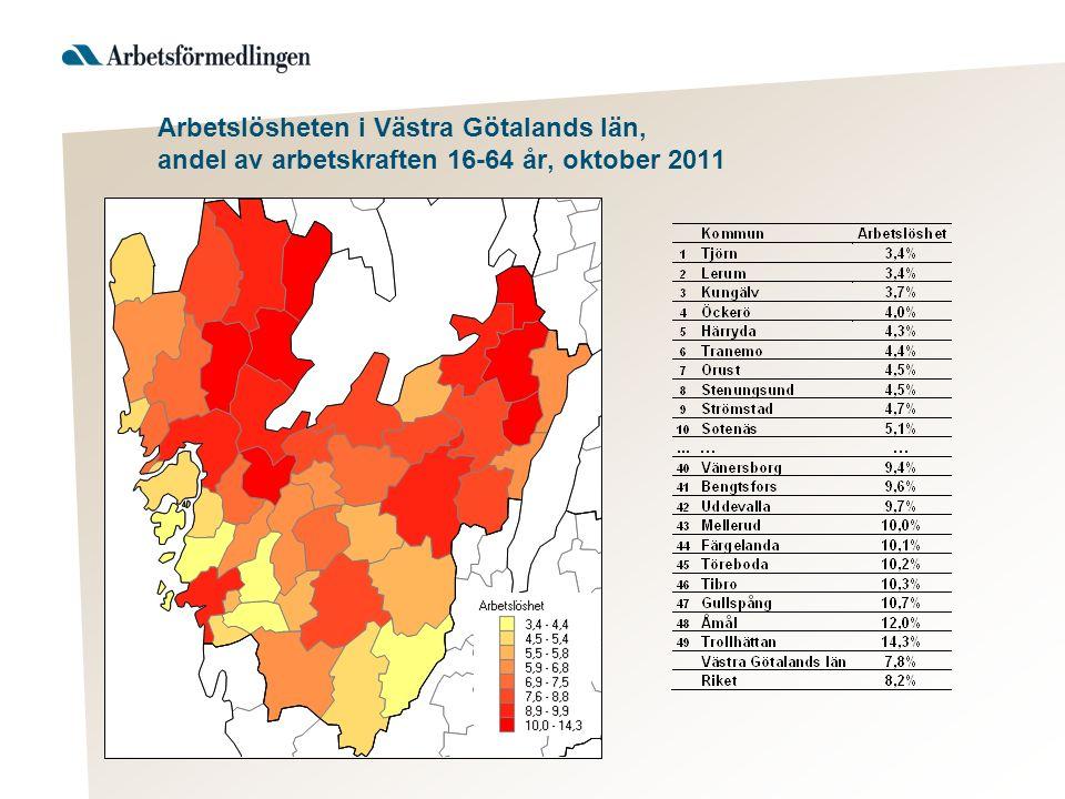 Arbetslösheten i Västra Götalands län, andel av arbetskraften 16-64 år, oktober 2011