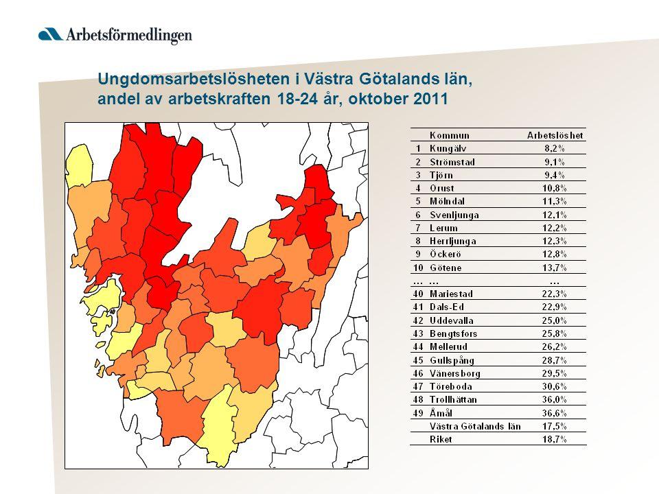 Ungdomsarbetslösheten i Västra Götalands län, andel av arbetskraften 18-24 år, oktober 2011
